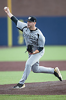 Western Michigan Broncos pitcher Jack Szott (36) delivers a pitch to the plate against the Michigan Wolverines on March 18, 2019 in the NCAA baseball game at Ray Fisher Stadium in Ann Arbor, Michigan. Michigan defeated Western Michigan 12-5. (Andrew Woolley/Four Seam Images)