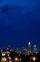 Views of uptown Charlotte, NC. at dusk.