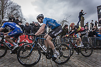 Wout Van Aert (BEL/Veranda's Willems - Crelan) and Belgian Champion Oliver Naesen (BEL/AG2R La Mondiale) up the 3th passage of the Oude Kwaremont.<br /> <br /> 102nd Ronde van Vlaanderen 2018<br /> 1day race: Antwerp › Oudenaarde - BEL (265k)
