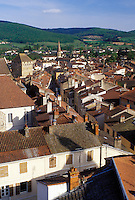 Burgundy, Cluny, France, Saone-et-Loire, Bourgogne, Europe, wine region, Aerial view of the town of Cluny.