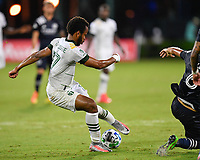 LAKE BUENA VISTA, FL - AUGUST 01: Jeremy Ebobisse #17 of the Portland Timbers cuts the ball away from pressure during a game between Portland Timbers and New York City FC at ESPN Wide World of Sports on August 01, 2020 in Lake Buena Vista, Florida.