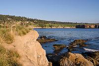 The rocky shoreline at Stillwater Bay, California, showing kelp in the ocean