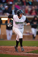 Dayton Dragons third baseman Gavin LaValley (29) runs to first during a game against the Great Lakes Loons on May 21, 2015 at Fifth Third Field in Dayton, Ohio.  Great Lakes defeated Dayton 4-3.  (Mike Janes/Four Seam Images)