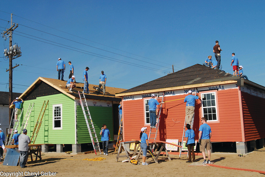 Habitat for Humanity volunteers raise roof  in the Musicians Village in Upper Ninth Ward,  2007