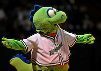 5 September 2008: Vermont Lake Monsters' mascot Champ entertains the fans during a game against the Oneonta Tigers at Centennial Field in Burlington, Vermont. The Lake Monsters fell to the Tigers 10-4. Mandatory Photo Credit: Ed Wolfstein Photo