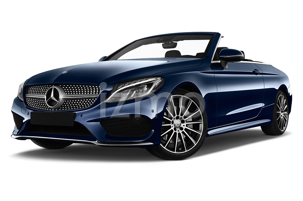 Stock pictures of low aggressive front three quarter view of 2017 Mercedes Benz C-Class AMG-Line 2 Door convertible Low Aggressive
