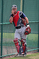Atlanta Braves minor leaguer Jarrod Saltalamacchia during Spring Training at Disney's Wide World of Sports on March 14, 2007 in Orlando, Florida.  (Mike Janes/Four Seam Images)