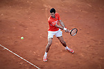 Novak Djokovic from Serbia during the Mutua Madrid Open Masters final match against Stefanos Tsitsipas from Greece on day eight at Caja Magica in Madrid, Spain. Novak Djokovic beat Stefanos Tsitsipas. May 12, 2019. (ALTERPHOTOS/A. Perez Meca)