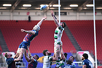 1st January 2021; Ashton Gate Stadium, Bristol, England; Premiership Rugby Union, Bristol Bears versus Newcastle Falcons; Sean Robinson of Newcastle Falcons wins the lineout ball under pressure from Dave Attwood of Bristol Bears