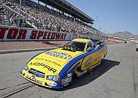 Apr. 7, 2013; Las Vegas, NV, USA: NHRA funny car driver Matt Hagan on the return road during the Summitracing.com Nationals at the Strip at Las Vegas Motor Speedway. Mandatory Credit: Mark J. Rebilas-