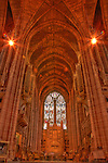 High dynamic range (HDR) imaging shows off the intricate architecture of the  of an interior section of the Roman Catholic Metropolitan Cathedral of Liverpool in England's 5th most populous city.  The cathedral's 13 bells sit 219 ft above floor level and weigh a massive 16.5 tons, awarding them the name of the highest and heaviest ringing peals in the world.