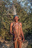 Africa, Botswana, Khwai, The Lodge, Feline Fields, edge of the Kalahari desert. Kalahari bush people, Ju'hoansi tribe. Hunter-gatherer !Kung people, part of San tribe.
