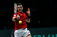 Roberto Bautista Agut of Spain plays a forehand against Nikola Mektic of Croatia during Day 1 of the 2019 Davis Cup at La Caja Magica on November 18, 2019 in Madrid, Spain. (ALTERPHOTOS/Manu R.B.)<br /> Tennis Davis Cup 2019 <br /> Coppa Davis<br /> Foto Alterphotos / Insidefoto <br /> ITALY ONLY