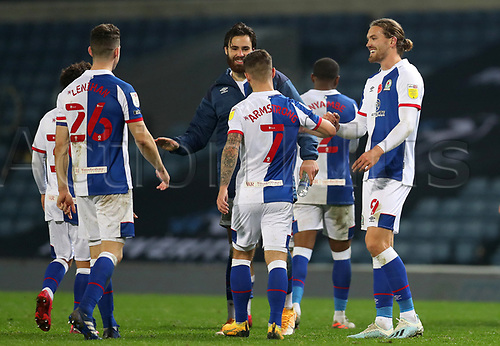 7th November 2020; Ewood Park, Blackburn, Lancashire, England; English Football League Championship Football, Blackburn Rovers versus Queens Park Rangers; Adam Armstrong of Blackburn Rovers is congratulated by his team mates after their 3-1 win