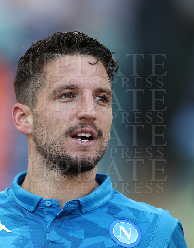 Football, Serie A: AS Roma - SSC Napoli, Olympic stadium, Rome, March 31, 2019. <br /> Napoli's Dries Mertens celebrates after scoring during the Italian Serie A football match between Roma and Napoli at Olympic stadium in Rome, on March 31, 2019.<br /> UPDATE IMAGES PRESS/Isabella Bonotto