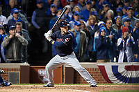 Cleveland Indians Yan Gomes (10) bats in the eighth inning during Game 5 of the Major League Baseball World Series against the Chicago Cubs on October 30, 2016 at Wrigley Field in Chicago, Illinois.  (Mike Janes/Four Seam Images)