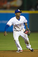 Round Rock Express shortstop Jurickson Profar #10 on defense against the Omaha Storm Chasers in the Pacific Coast League baseball game on April 4, 2013 at the Dell Diamond in Round Rock, Texas. Round Rock defeated Omaha in their season opener 3-1. (Andrew Woolley/Four Seam Images).