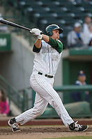 Fort Wayne TinCaps designated hitter Brad Zunica (35) follows through on his swing against the West Michigan Whitecaps on May 23, 2016 at Parkview Field in Fort Wayne, Indiana. The TinCaps defeated the Whitecaps 3-0. (Andrew Woolley/Four Seam Images)