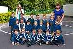 Teacher Sarah Flynn left with her Junior Infants and Debbie O'Sullivan SNA on their first day of school in Nagle Rice NS Milltown on Monday (names to follow)