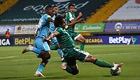 BOGOTÁ- COLOMBIA, 04-09-2021:Daniel Mantilla de La Equidad disputa el balón con Nelino Tapia de Jaguares de Cordoba durante partido por la fecha 8 entre La Equidad y Jaguares de Cordoba como parte de la Liga BetPlay DIMAYOR II 2021 jugado en el estadio Metropolitano de Techo  de la ciudad de Bogotá / Daniel Mantilla of La Equidad vies for the ball with  Nelino Tapia player of Jaguares de Cordoba during match for the date 8 between La Equidad and Jaguares de Cordoba as a part BetPlay DIMAYOR League II 2021 played at Metropolitano de Techo stadium in Bogota city. Photo: VizzorImage / Felipe Caicedo / Staff
