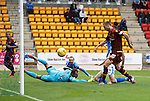 St Johnstone v Motherwell...22.08.15  SPFL   McDiarmid Park, Perth<br /> Louis Moult scores for Motherwell<br /> Picture by Graeme Hart.<br /> Copyright Perthshire Picture Agency<br /> Tel: 01738 623350  Mobile: 07990 594431