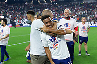 LAS VEGAS, NV - AUGUST 1: Head coach Gregg Berhalter, Jonathan Lewis #15 of the United States during a game between Mexico and USMNT at Allegiant Stadium on August 1, 2021 in Las Vegas, Nevada.