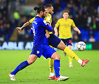 28th September 2021; Cardiff City Stadium, Cardiff, Wales;  EFL Championship football, Cardiff versus West Bromwich Albion; Matt Phillips of West Bromwich Albion and Sean Morrison of Cardiff City challenge for the ball