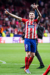 Atletico de Madrid Saul Niguez celebrating the victory during Europa League Semi Finals First Leg match between Atletico de Madrid and Arsenal FC at Wanda Metropolitano in Madrid, Spain. May 03, 2018.  (ALTERPHOTOS/Borja B.Hojas)