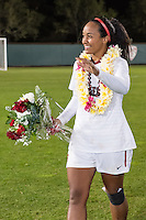 STANFORD, CA - October 21, 2012: Mariah Nogueira  during the Senior Day celebration after the Stanford vs Washington women's soccer match in Stanford, California.  Stanford won 3-0.