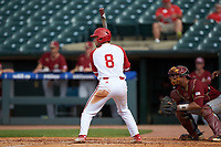 Will Wilson (8) of the North Carolina State Wolfpack at bat against the Boston College Eagles in Game Two of the 2017 ACC Baseball Championship at Louisville Slugger Field on May 23, 2017 in Louisville, Kentucky. The Wolfpack defeated the Eagles 6-1. (Brian Westerholt/Four Seam Images)