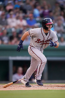 Left fielder Garrison Schwartz (46) of the Rome Braves in a game against the Greenville Drive on Friday, August 6, 2021, at Fluor Field at the West End in Greenville, South Carolina. (Tom Priddy/Four Seam Images)