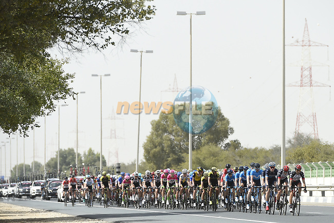The peleton in action during Stage 2 of the 2018 Abu Dhabi Tour, Yas Island Stage running 154km from Yas Mall to Yas Beach, Abu Dhabi, United Arab Emirates. 22nd February 2018.<br /> Picture: LaPresse/Fabio Ferrari | Cyclefile<br /> <br /> <br /> All photos usage must carry mandatory copyright credit (© Cyclefile | LaPresse/Fabio Ferrari)