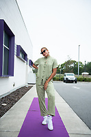 ORLANDO, FL - SEPTEMBER 11: Toni Pressley #3 of the Orlando Pride arrives at the game before a game between Racing Louisville FC and Orlando Pride at Exploria Stadium on September 11, 2021 in Orlando, Florida.