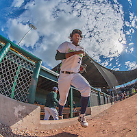 31 July 2016: Vermont Lake Monsters infielder Eric Marinez emerges from the dugout to take the field for a game against the Connecticut Tigers at Centennial Field in Burlington, Vermont. The Lake Monsters edged out the Tigers 4-3 in NY Penn League action.  Mandatory Credit: Ed Wolfstein Photo *** RAW (NEF) Image File Available ***