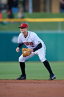 Indianapolis Indians second baseman Erich Weiss (6) during a game against the Toledo Mud Hens on May 2, 2017 at Victory Field in Indianapolis, Indiana.  Indianapolis defeated Toledo 9-2.  (Mike Janes/Four Seam Images)