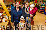 Ella and Olivia Curtin Joyce, Rosie and Patricia Curtin from Castleisland sampling the delights at the Garveys Supervalu Castleisland's Food Fair on Tuesday.