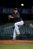 Visalia Rawhide relief pitcher Wei-Chieh Huang (14) delivers a pitch during a California League game against the Lancaster JetHawks at The Hangar on May 17, 2018 in Lancaster, California. Lancaster defeated Visalia 11-9. (Zachary Lucy/Four Seam Images)