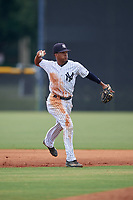 GCL Yankees East shortstop Miguel Marte (1) throws to first base during a Gulf Coast League game against the GCL Phillies East on July 31, 2019 at Yankees Minor League Complex in Tampa, Florida.  GCL Phillies East defeated the GCL Yankees East 4-3 in the second game of a doubleheader.  (Mike Janes/Four Seam Images)