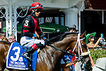 SARATOGA SPRINGS - AUGUST 27: Paulassilverlining #3, ridden by Jose Ortiz, during the post parade before the Ballerina Stakes on Travers Stakes Day at Saratoga Race Course on August 27, 2016 in Saratoga Springs, New York. (Photo by Dan Heary/Eclipse Sportswire/Getty Images)