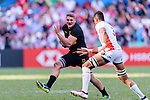 Max Calitz of Germany (L) runs with the ball during the HSBC World Rugby Sevens Series Qualifier Final match between Germany and Japan as part of the HSBC Hong Kong Sevens 2018 on 08 April 2018 in Hong Kong, Hong Kong. Photo by Marcio Rodrigo Machado / Power Sport Images