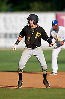 Bristol Pirates second baseman Dean Lockery (12) leads off second base during the first game of a doubleheader against the Bluefield Blue Jays on July 25, 2018 at Bowen Field in Bluefield, Virginia.  Bluefield defeated Bristol 6-3.  (Mike Janes/Four Seam Images)