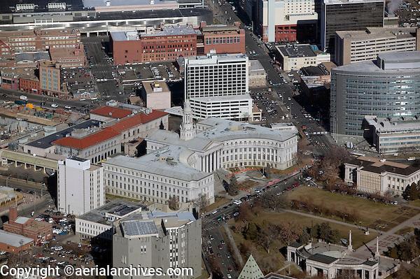 aerial above Denver City and County building, City Hall, Denver, Colorado