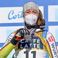 13th February 2021, Cortina, Italy; FIS World Championship Womens Downhill Skiing;  Kira Weidle GER Silver Medal Cortina Beluno Italy