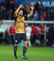 Francis Coquelin of Arsenal celebrates at full time during the Barclays Premier League match between Swansea City and Arsenal played at The Liberty Stadium, Swansea on October 31st 2015