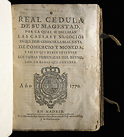 Spain (1770). Royal Issue setting the the responsabilities of the Real Junta de Comercio y Moneda (Royal Meeting of Trade and