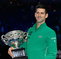 January 2, 2020: 2nd seed NOVAK DJOKOVIC (SRB) poses with the Australian Open trophy after defeating 5th seed DOMINIC THIEM (AUT) on Rod Laver Arena in the Men's Singles Final match on day 14 of the Australian Open 2020 in Melbourne, Australia. Photo Sydney Low