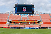 HOUSTON, TX - JUNE 10: BioSteel and AT&T on the field before a game between Portugal and USWNT at BBVA Stadium on June 10, 2021 in Houston, Texas.