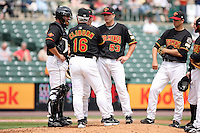 May 14th 2008:  Catcher Ryan Jorgensen (7), Manager Stan Cliburn (16), Pitcher Brian Duensing (53), Matt Macri (back), and Chris Basak (right) of the Rochester Red Wings, Class-AAA affiliate of the Minnesota Twins, during a conference at Frontier Field in Rochester, NY.  Photo by Mike Janes/Four Seam Images