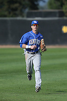 Kyle Barrett  (4) of the Kentucky Wildcats in the field during a game against the UC Santa Barbara Gauchos at Caesar Uyesaka Stadium on March 20, 2015 in Santa Barbara, California. UC Santa Barbara defeated Kentucky, 10-3. (Larry Goren/Four Seam Images)