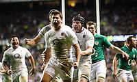 Photo: Richard Lane/Richard Lane Photography. England v Ireland. 17/03/2012. England's Ben Youngs celebrates his try with Ben Morgan.